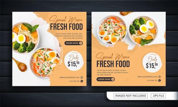Flyer oder social-media-banner für den verkauf von frischen menüs