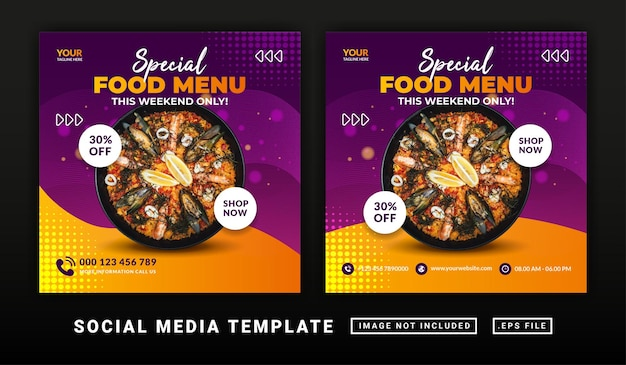 Flyer- oder social-media-post-themen-burger-menüvorlage