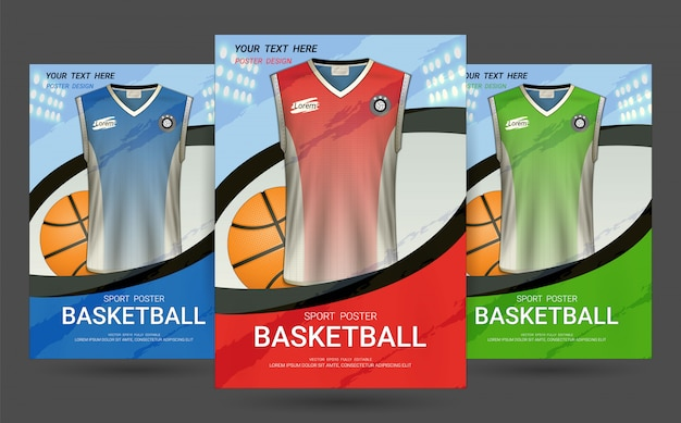 Flyer & poster cover vorlage mit basketball jersey design.