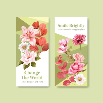 Flyer-schablone mit blumenstraußentwurf für weltlächeltagkonzept zur broschüre und vermarktung der aquarellvektorillustration.