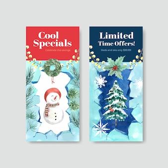 Flyer-schablonenset mit winterverkauf für broschüre im aquarellstil