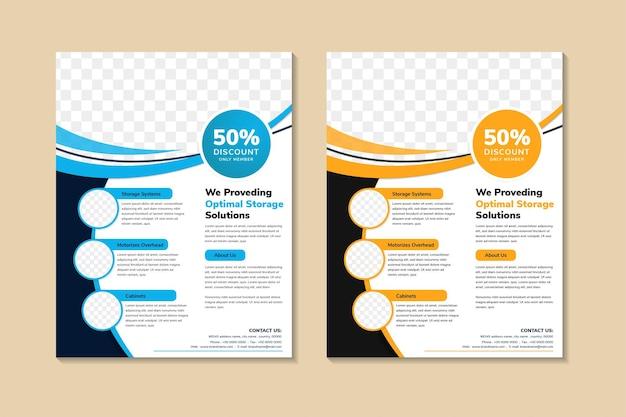 Flyer template design mit vertikalem layout. kombination aus blauen, orangefarbenen und schwarzen elementen.