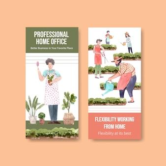 Flyer und broschürenschablonendesign mit menschen arbeiten von zu hause im garten. home-office-konzept aquarell vektor-illustration