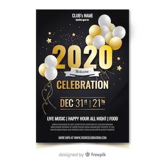 Flyer und poster template design für das neue jahr 2020 party