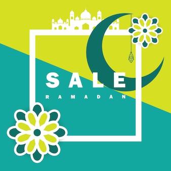Flyer, verkauf, rabatt, grußkarte, etikett oder banner bei ramadan kareem und eid mubarak celebration