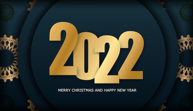 Flyer vorlage 2022 frohe weihnachten und ein glückliches neues jahr dunkelblau mit luxuriösem goldmuster