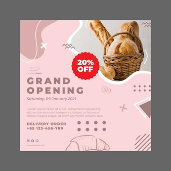 Flyer-vorlage für bäckerei-anzeigenquadrat