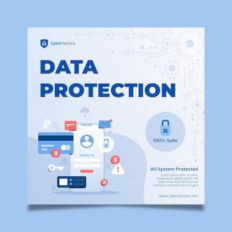 Flyer-vorlage für cybersicherheit im quadrat