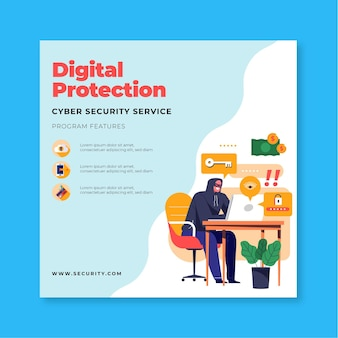 Flyer-vorlage für cybersicherheit