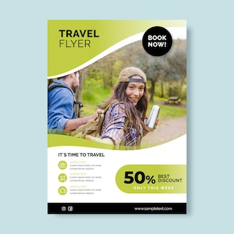 Flyer-vorlage für den reiseverkauf mit foto