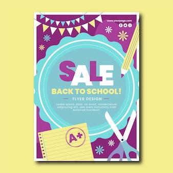 Flyer vorlage für den vertikalen verkauf zurück in die schule