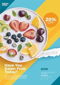 Flyer-vorlage für ein gesundes lebensmittelrestaurant