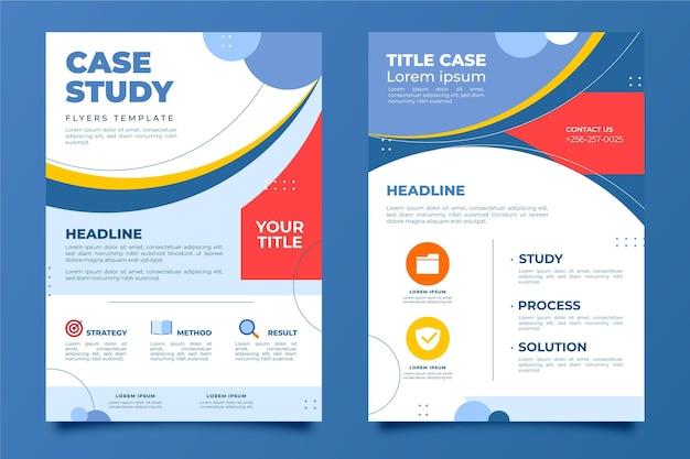 Flyer vorlage für fallstudien im flachen design