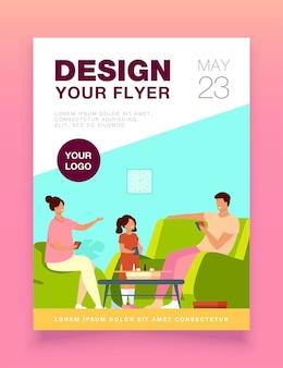 Flyer-vorlage für familienhausaktivitäten