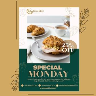 Flyer vorlage für frühstücksrestaurant