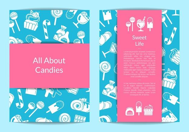 Flyer vorlage für konditorei oder konditorei mit flachem stil