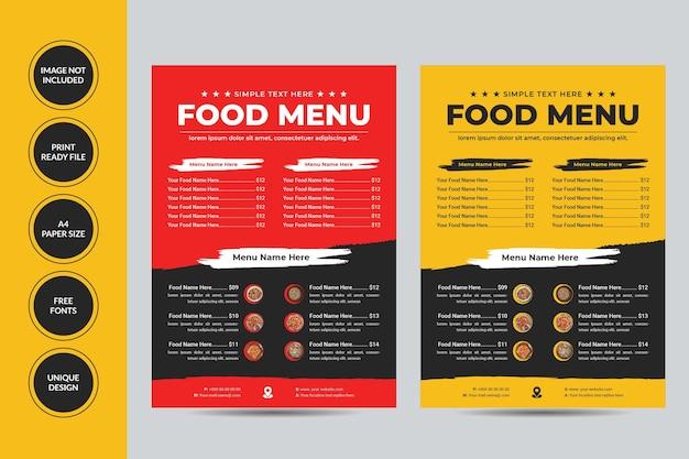 Flyer-vorlage für lebensmittelmenüs