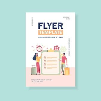 Flyer-vorlage für reise-packlisten