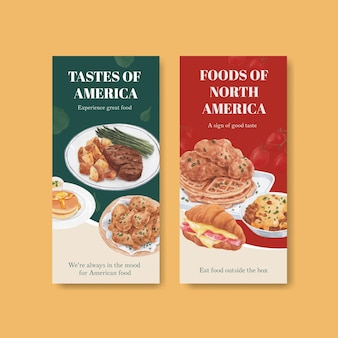 Flyer-vorlage mit amerikanischem lebensmittelkonzept, aquarell-stil