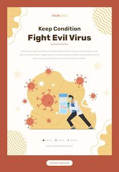 Flyer-vorlage mit arztillustration, die das virus mit maske und impfstoff bekämpft