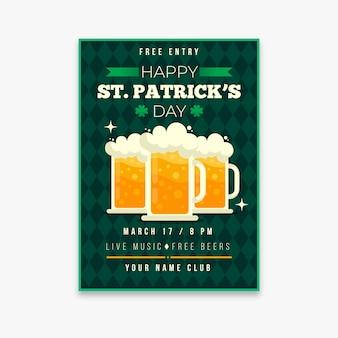 Flyer vorlage mit bier handwerk für st. patricks day