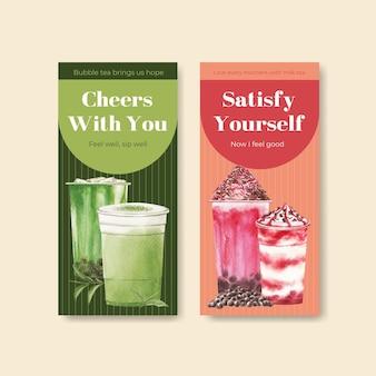 Flyer vorlage mit bubble milk tee