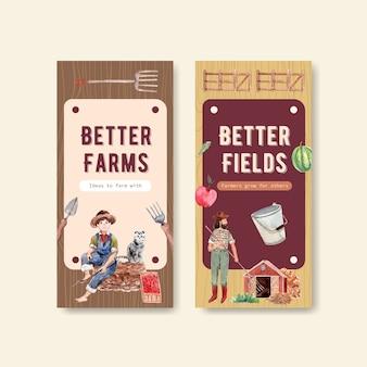 Flyer vorlage mit farm bio-konzept design aquarell illustration.