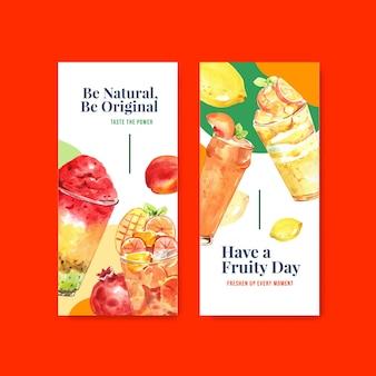 Flyer vorlage mit früchten smoothies konzept
