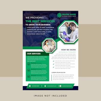 Flyer-vorlage mit grünem und blauem achteck für foto.