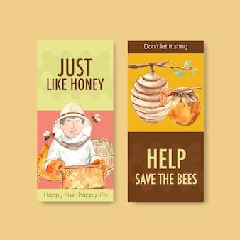 Flyer vorlage mit honig für broschüre und flugblatt aquarell