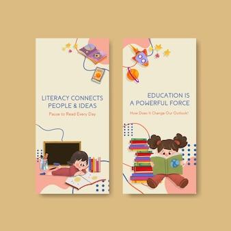 Flyer vorlage mit international literacy day konzept design für broschüre und flugblatt aquarell.