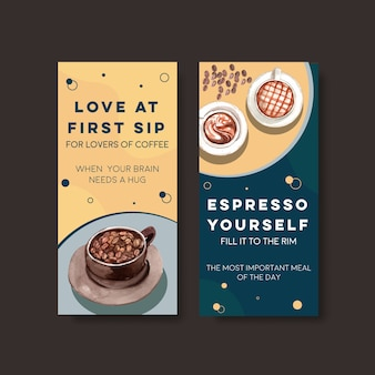 Flyer vorlage mit internationalem kaffeetag konzeptentwurf für werbung und broschüre aquarell