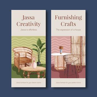 Flyer-vorlage mit jassa-möbelkonzeptentwurf für broschüren- und flugblattaquarellvektorillustration