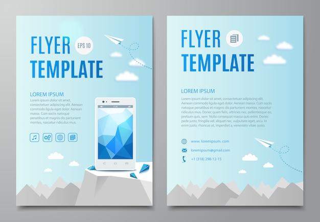Flyer vorlage mit modernen weißen smartphone