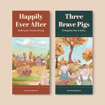 Flyer-vorlage mit niedlichen drei kleinen schweinchen, aquarell-stil