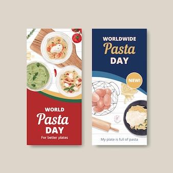 Flyer-vorlage mit pasta cancept, aquarell-stil