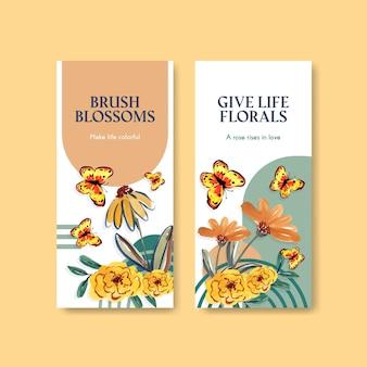 Flyer vorlage mit pinsel blumen konzept design für broschüre und flugblatt aquarell