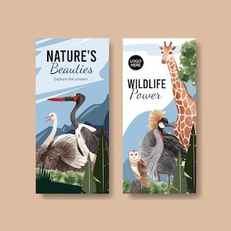 Flyer vorlage mit savanne wildlife konzept aquarell illustration