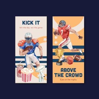 Flyer vorlage mit super bowl sport konzept design für broschüre und flugblatt aquarell vektor-illustration.