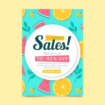 Flyer vorlage mit wassermelone und zitrusfrüchten