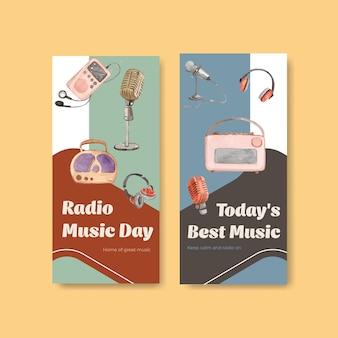 Flyer-vorlage mit weltradiotag-konzeptentwurf für broschüren- und flugblattaquarellillustration