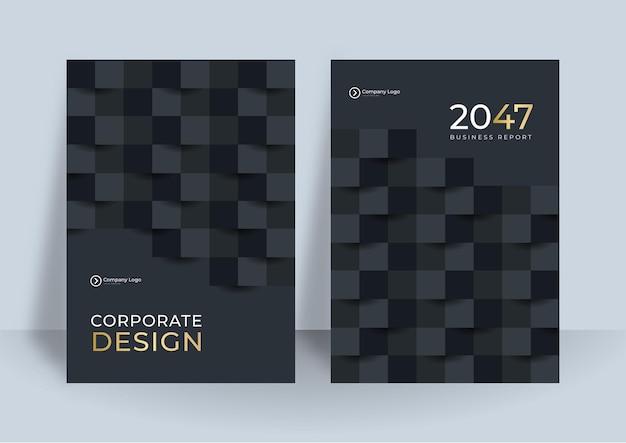 Flyer vorlage schwarz gold cover design layout-set für unternehmen. Premium Vektoren