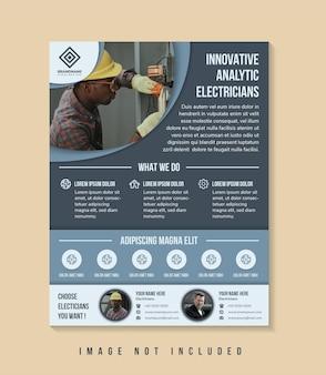 Flyer-vorlagen-design mit schlagzeile ist innovative analytische elektriker raum der fotocollage
