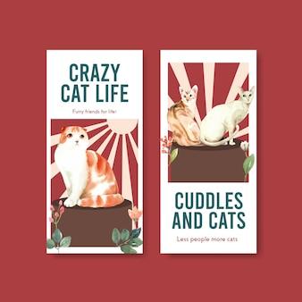 Flyer vorlagen mit niedlichen katzen