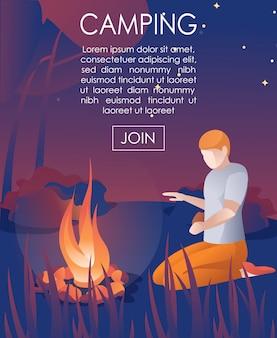 Flyer werbung camping im wald im urlaub