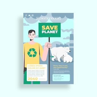 Flyer zum klimawandel im flachen design