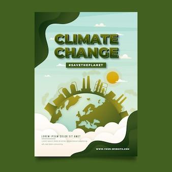 Flyer zum klimawandel mit farbverlauf