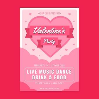 Flyer zum valentinstag mit flachem design