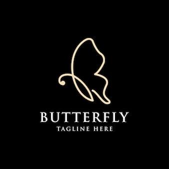 Flying butterfly logo mit einfachem minimalistischem strichzeichnungsstil