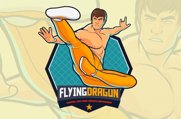 Flying kick-kämpferaktion für kampfkunstillustration oder turnhallenlogodesign